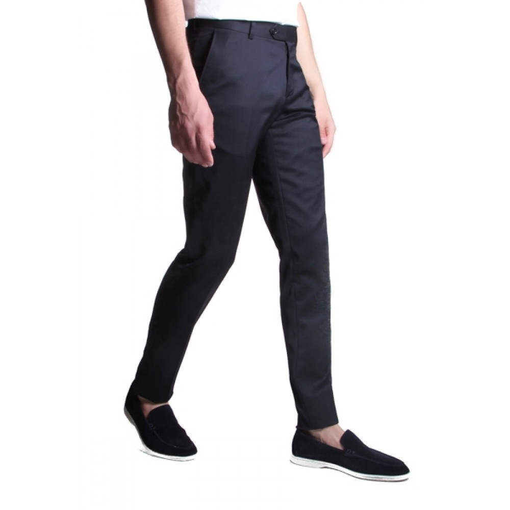 Pantalon :  Bleu marine - Pure laine