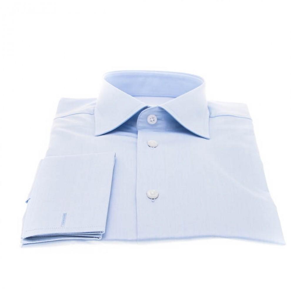 Chemise Reims : Bleue - Petit col français - P. Mousquetaire
