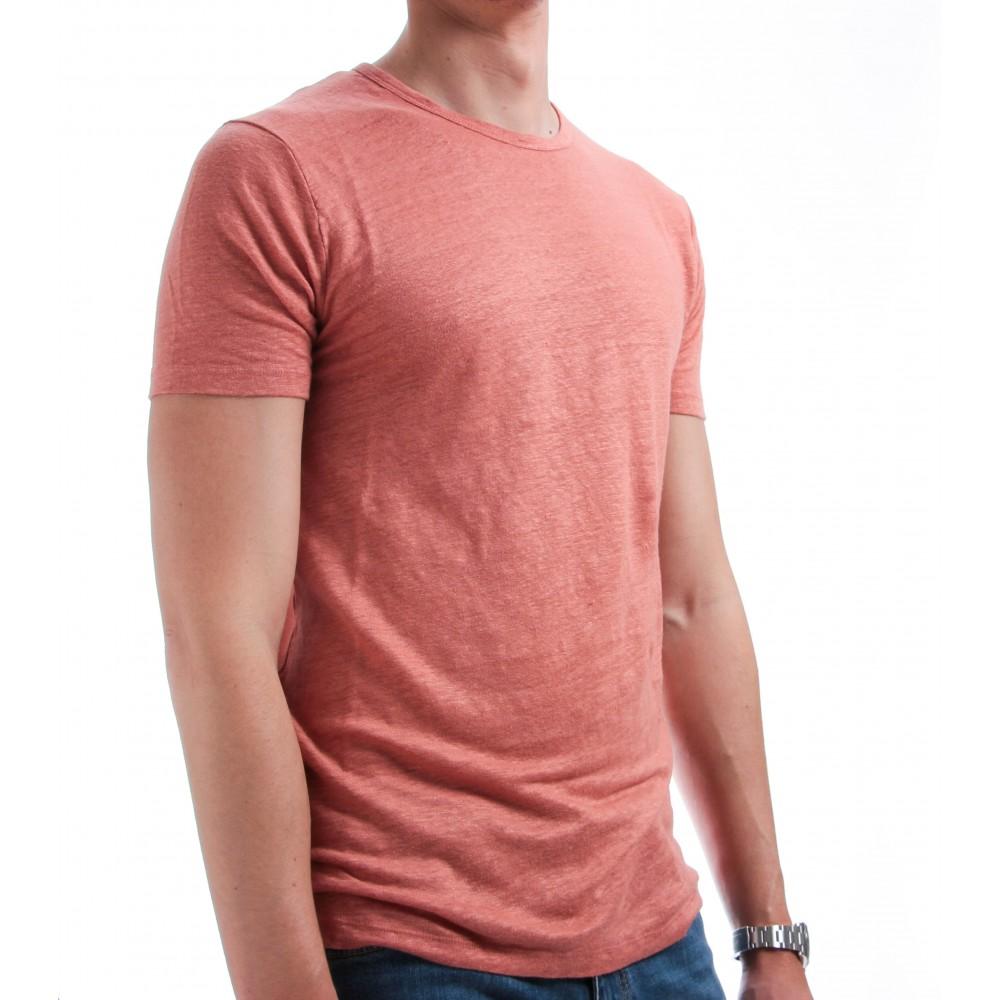Tee-Shirt en Lin Lavé : Mandarine - Manches courtes
