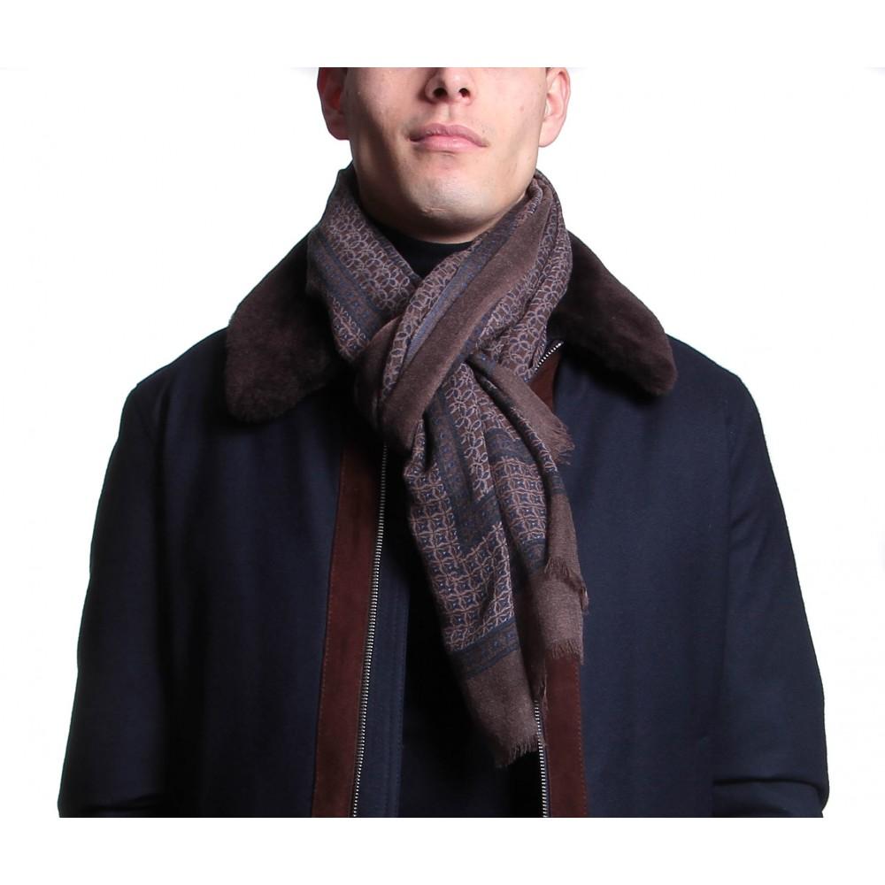 Chèche : Marron et marine - Pure laine