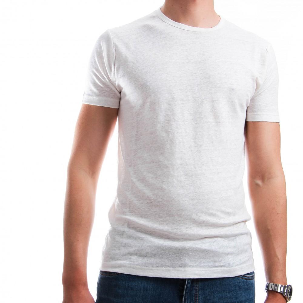 Tee-Shirt en Lin Lavé : Blanc - Manches courtes (Tee-shirt)