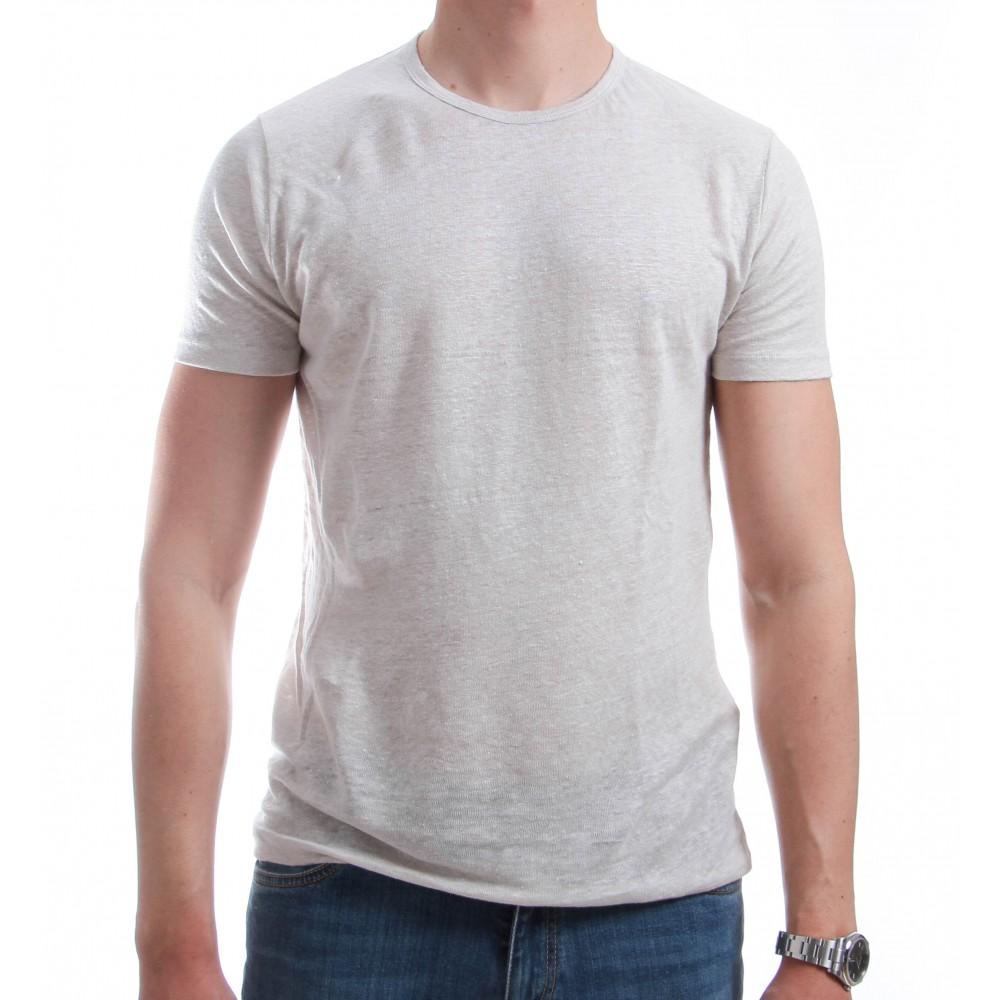 Tee-Shirt en Lin Lavé : Crême - Manches courtes (Tee-shirt)e