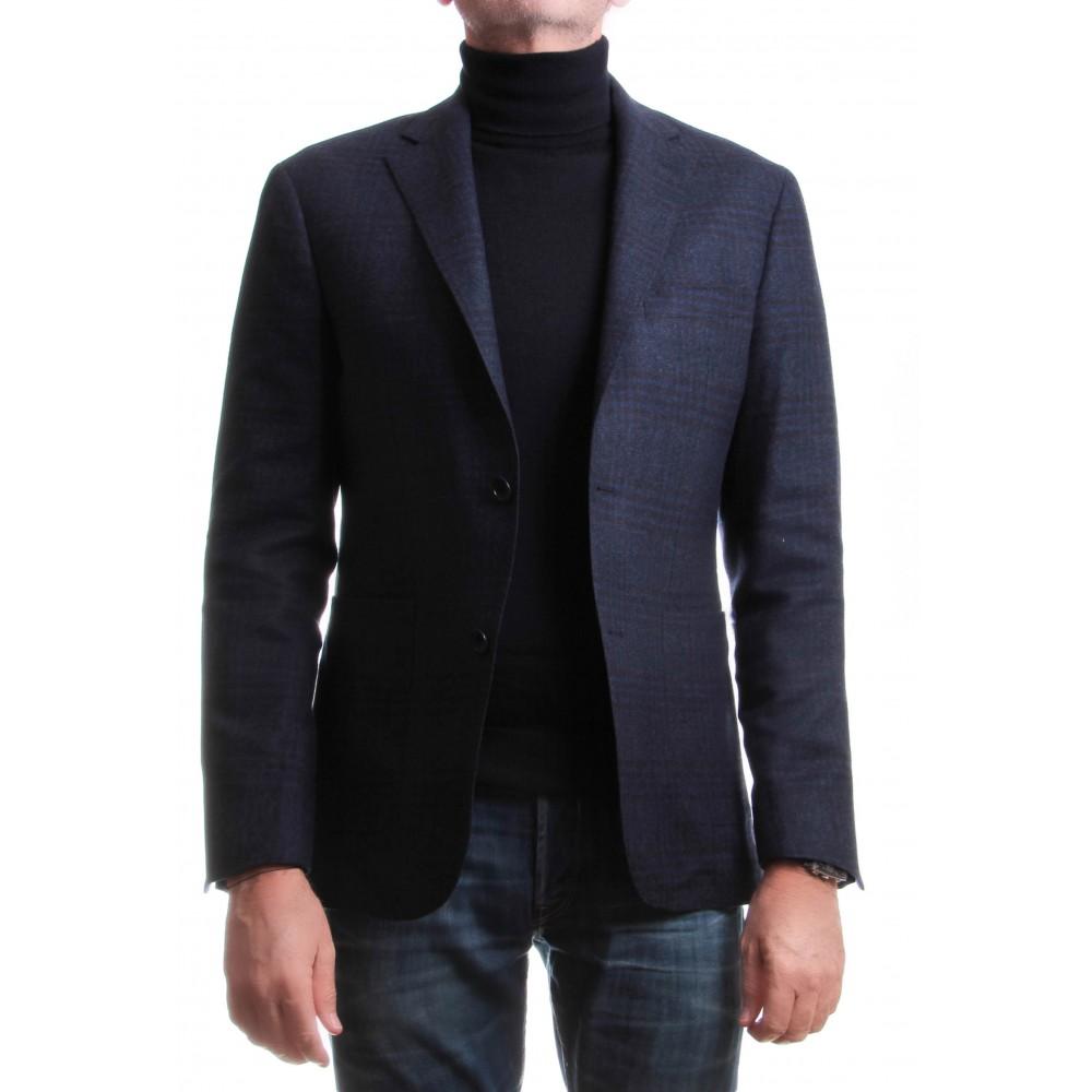 Veste traveller : Prince de Galles - Bleu marine - Laine et cachemire