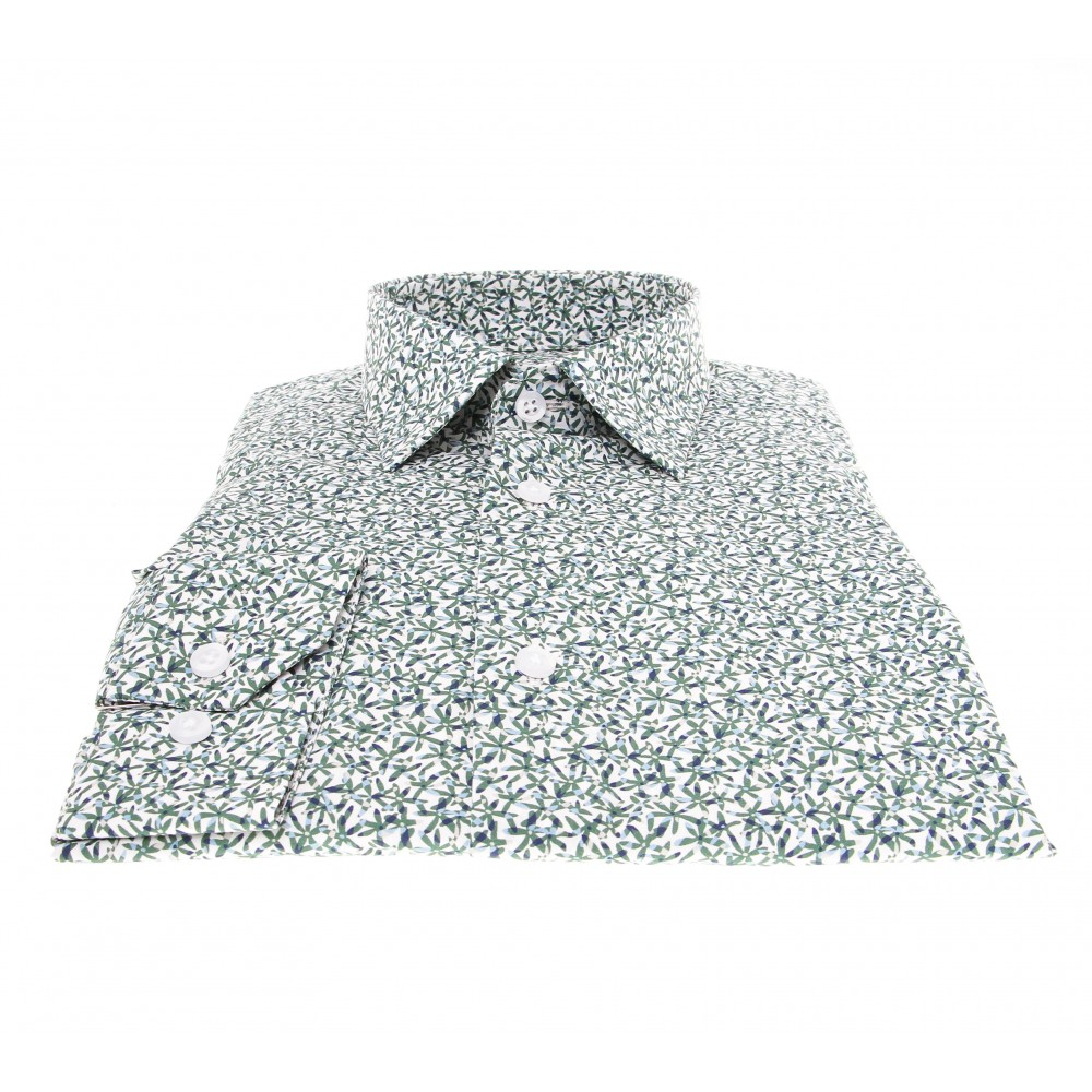 Chemise Summer : Blanc - Motif fleurs vertes - Petit col français (chemise)