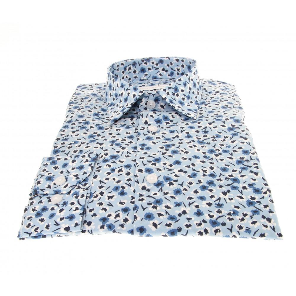 Chemise Summer : Bleu - Motifs fleurs blanches - Petit Col français (Default)