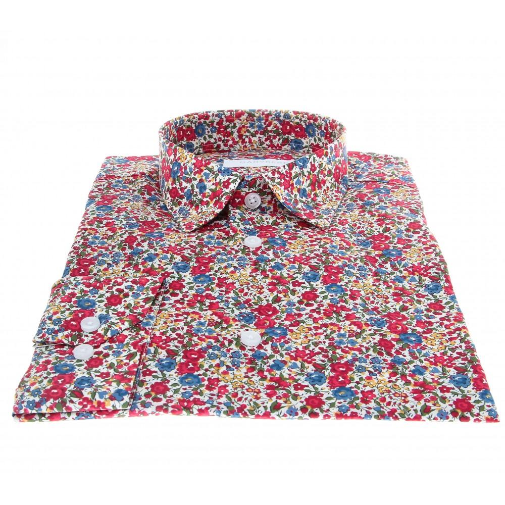 Chemise Summer : Motifs fleurs - Slim-Cut - Petit Col Français (chemise)