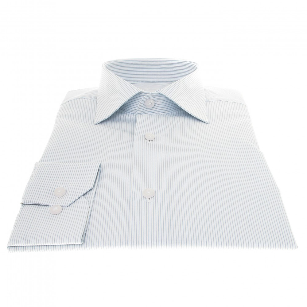 Chemise Prince : Base blanche - Rayures bleues - Col français (chemise)