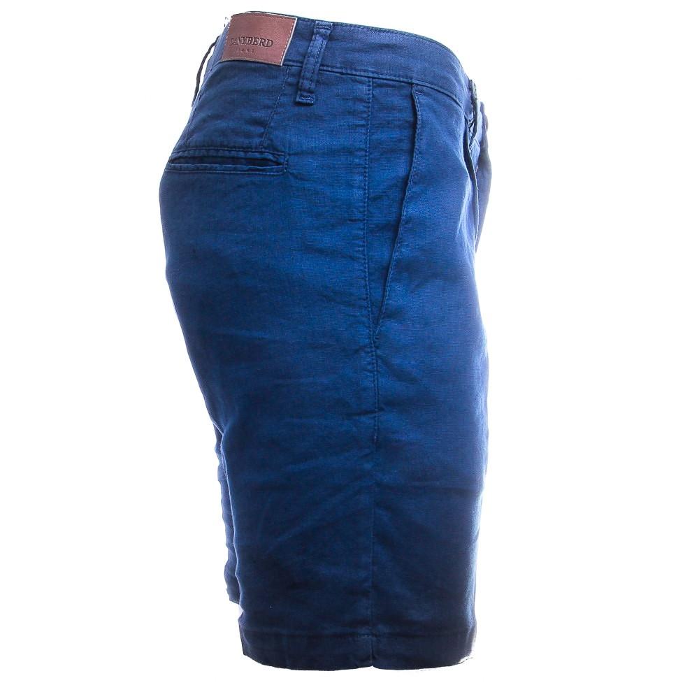 Short Bleu indigo Lin et Coton