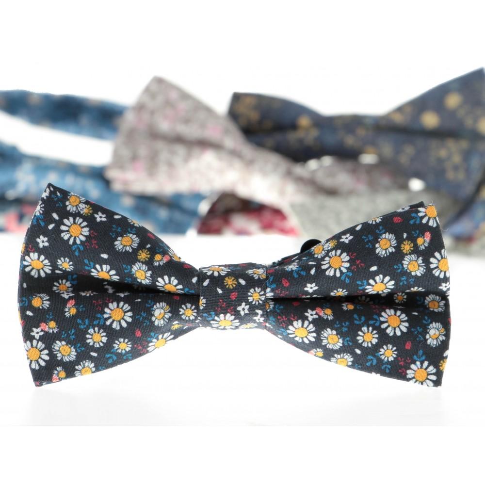 Nœud Papillon : Bleu marine - Motif fleurs
