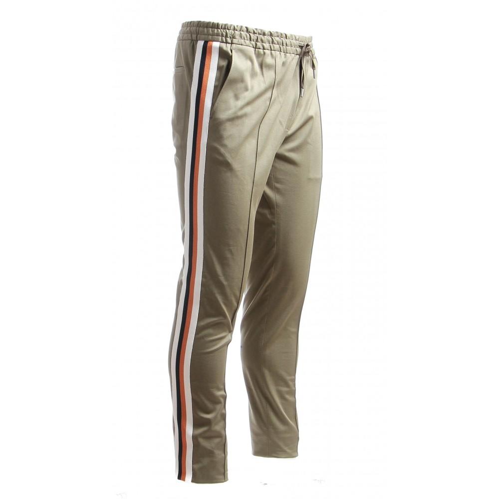 Jogging : Kaki - Bande tricolore - Coton