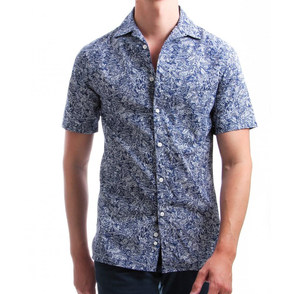 Chemise Summer : Manches courtes - Bleue à motif blanc - Col bowling