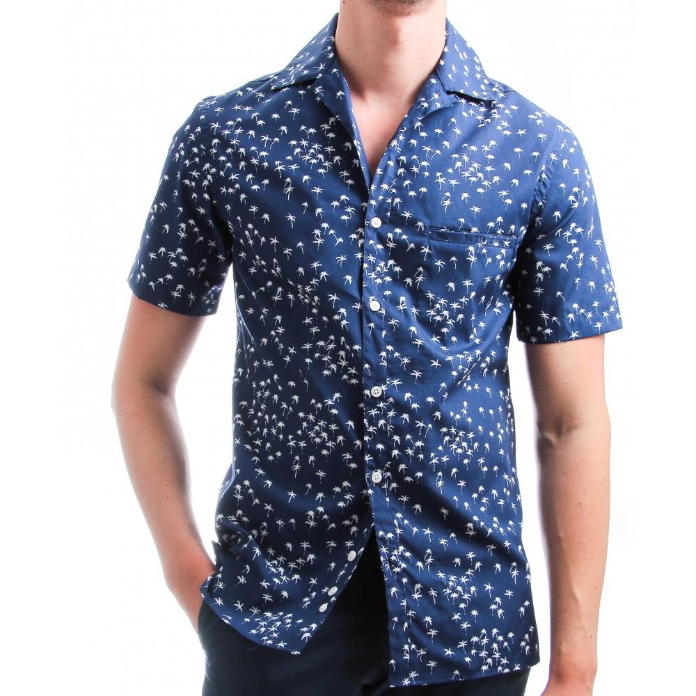 Chemise Summer : Manches courtes - Bleu à motif blanc - Col bowling