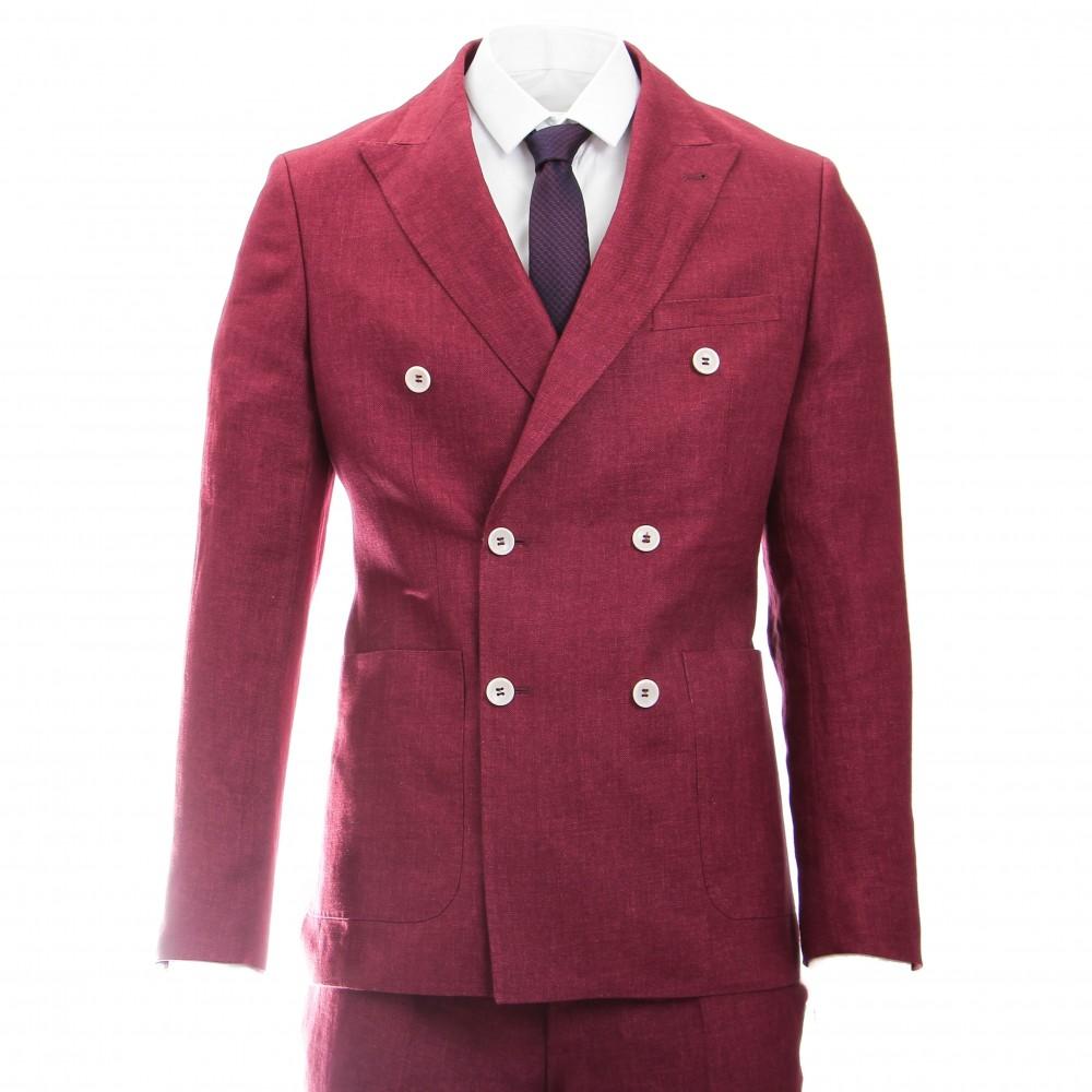 Costume croisé : Rouge bordeaux - Pur lin