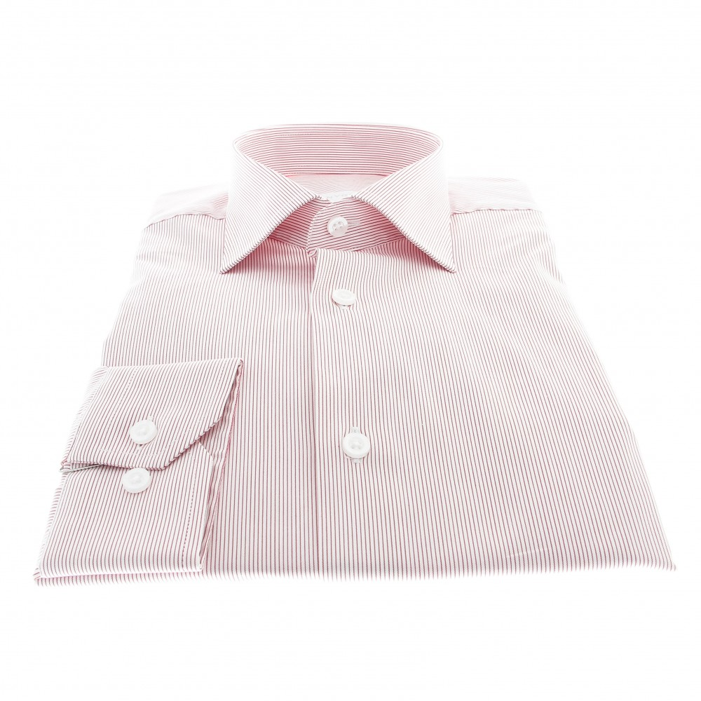 Chemise Roomy : Base blanche - Rayures rouges - Col français