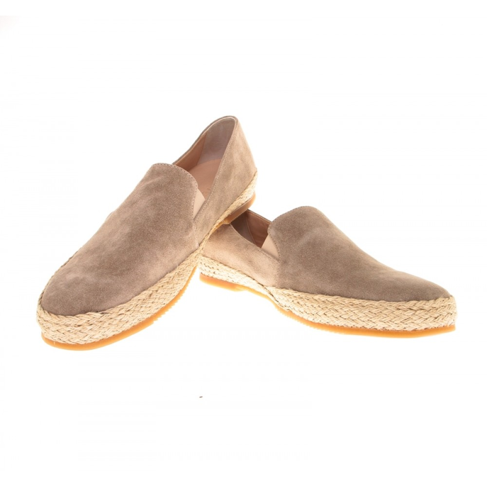 Espadrilles :  Beige - veau velours - made in italy