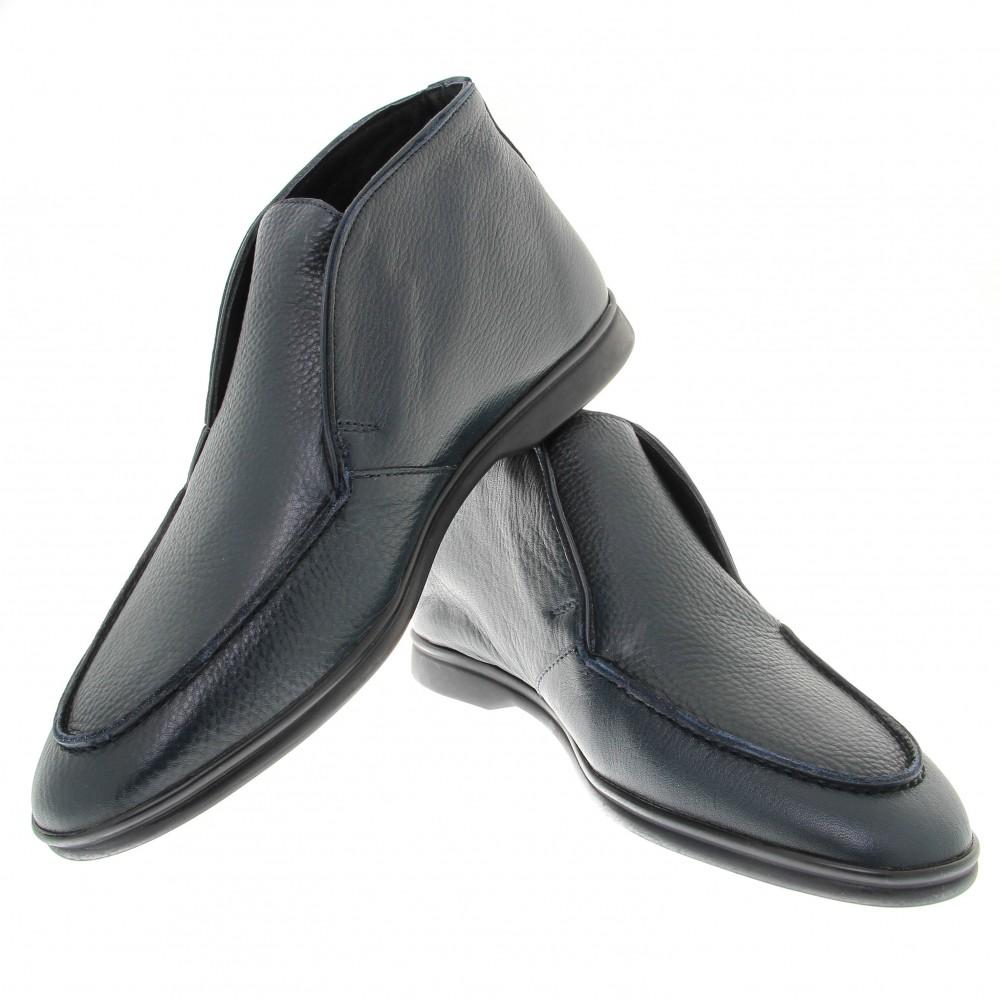 Boots italy : Marine - Cuir