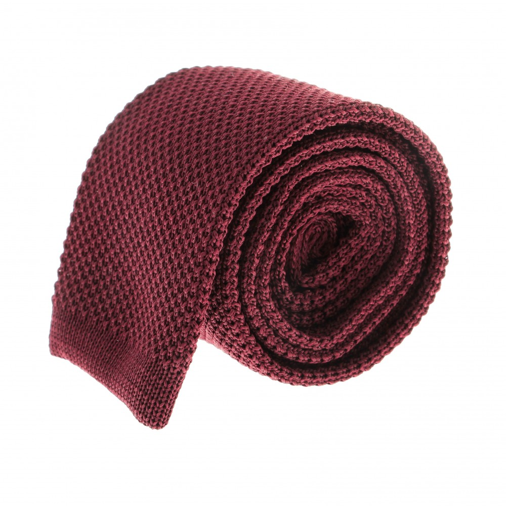 Cravate Tricot : rouge bordeaux