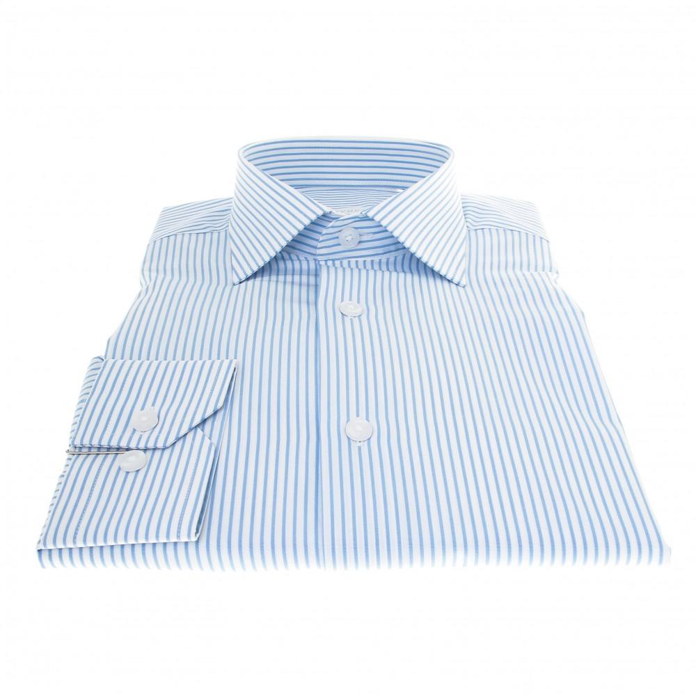 Chemise Plata : Rayures blanches et bleues - Col Français