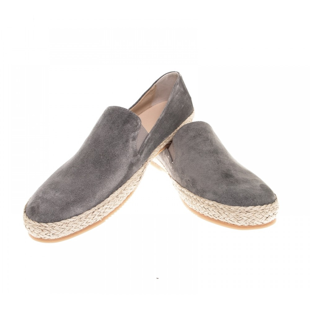 Espadrilles :  Gris - veau velours - made in italy