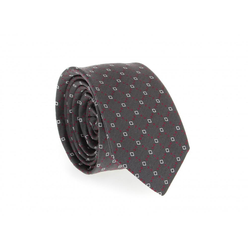 Cravate en soie : Base grise - motif rubis et blanc