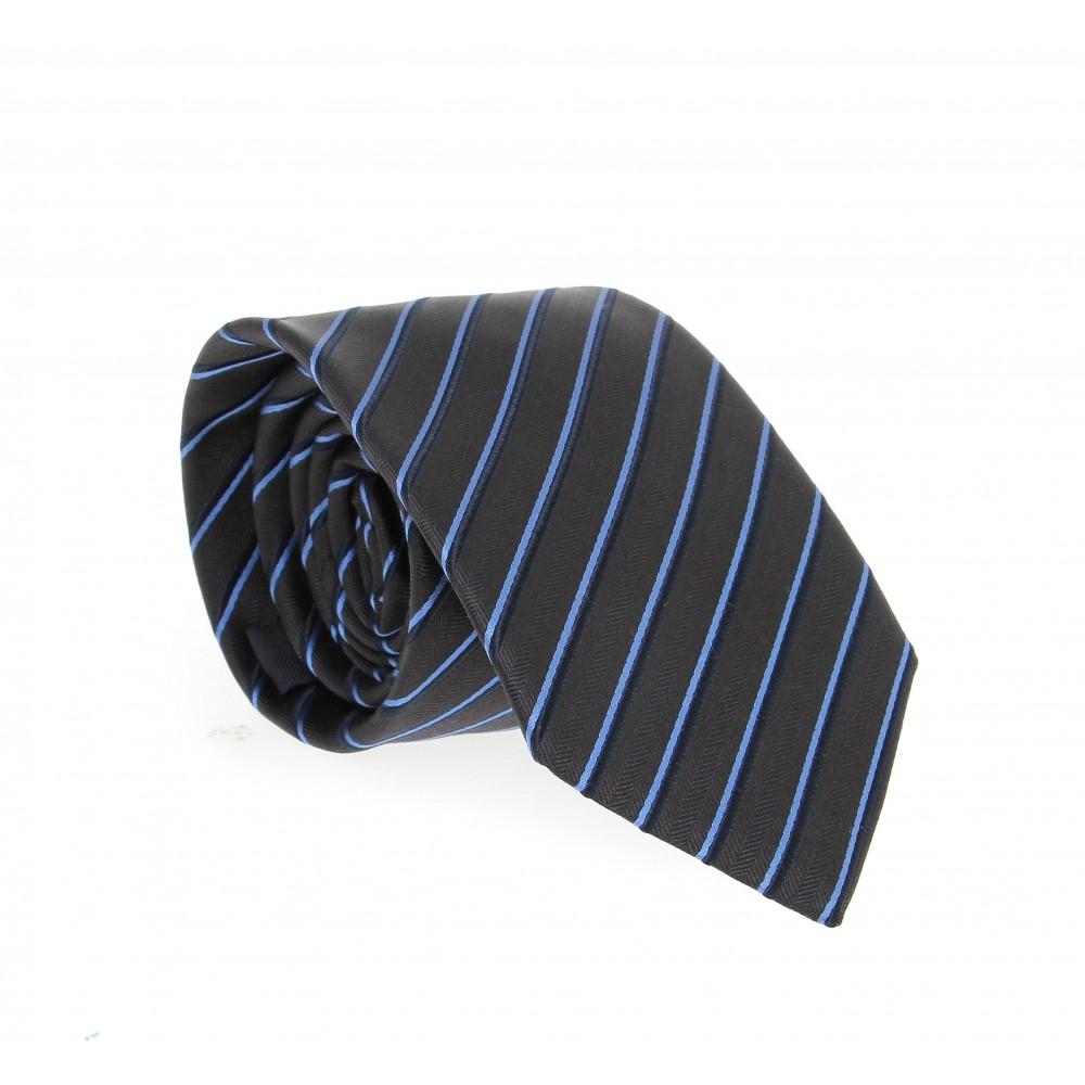 Cravate en soie : Base noire - Rayures bleues