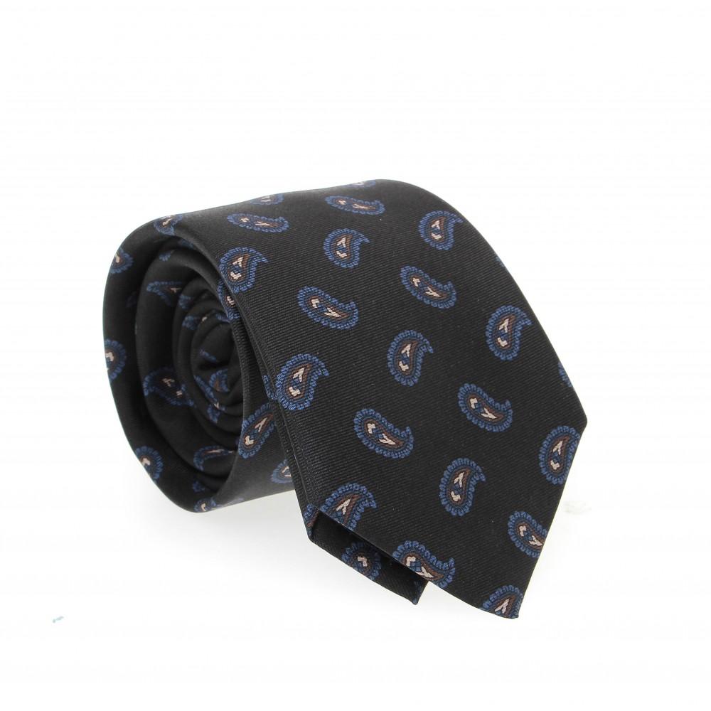 Cravate en soie : Base noire - Motif bleu