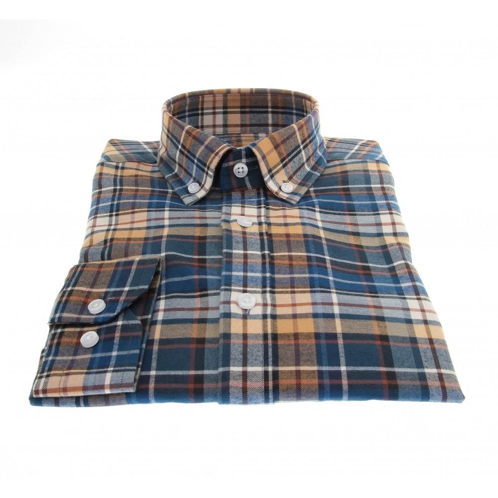 Chemise Winter Vermont : Carreaux bleus, marrons et crèmes  - Col boutonné - 100% Coton
