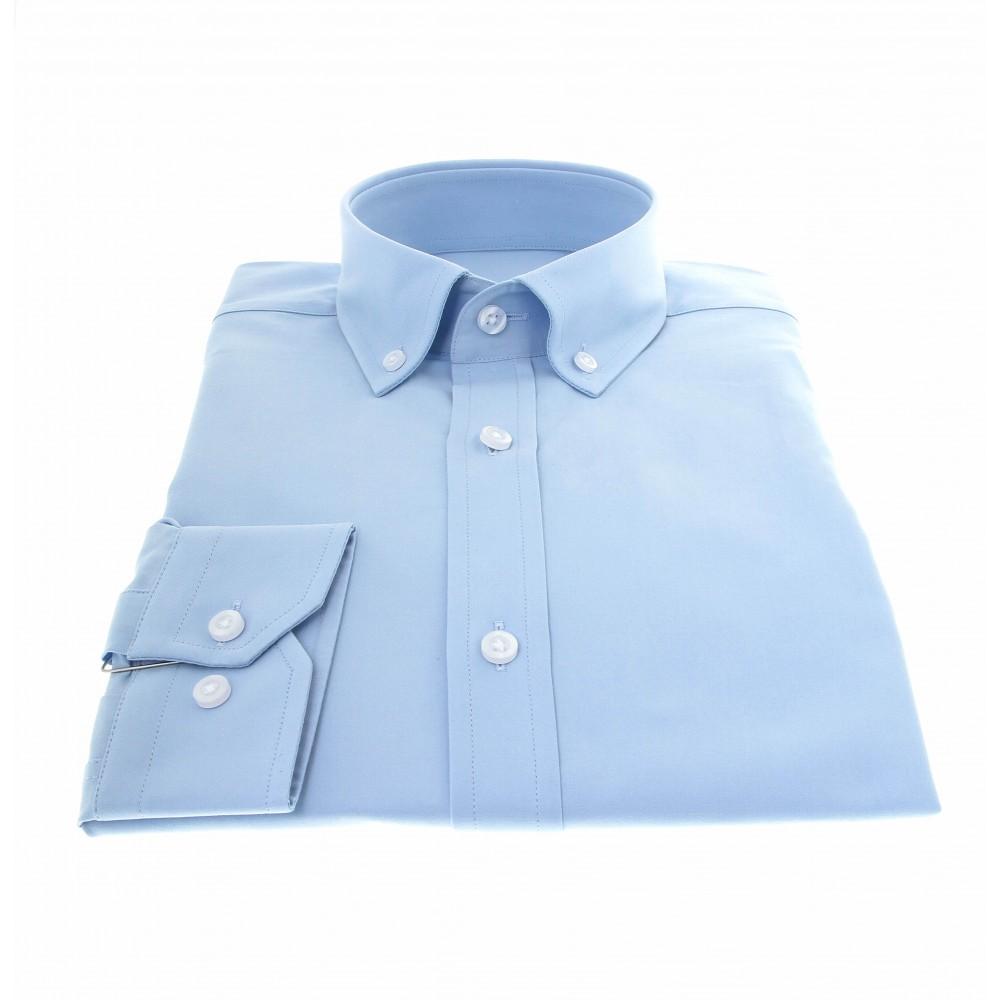 Chemise New-York : Ciel - Col boutonné - 100% Coton