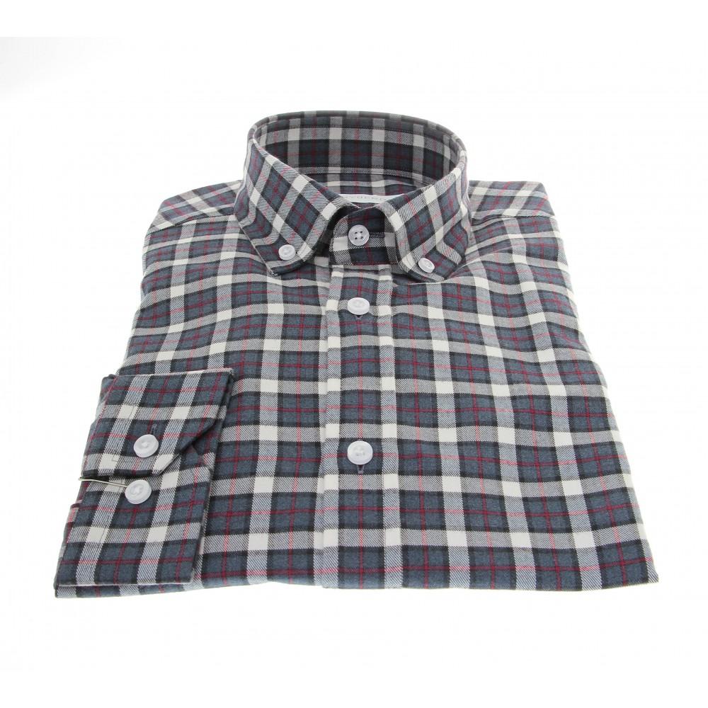 Chemise Winter Vermont : Carreaux bleus, marrons et crèmes - Col boutonné - 100% Coton (chemise)