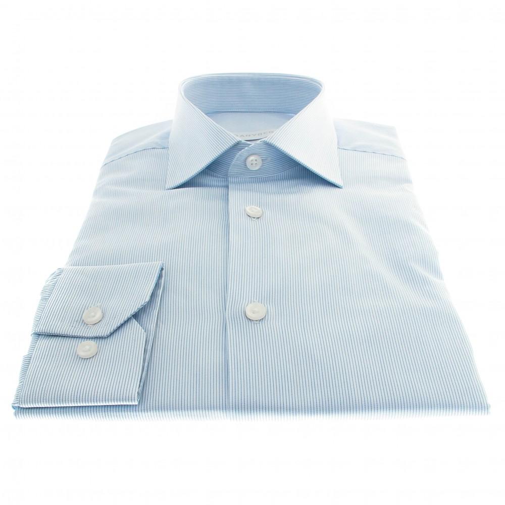 Chemise Lissandro : Base blanche à fines rayures ciel - Col français
