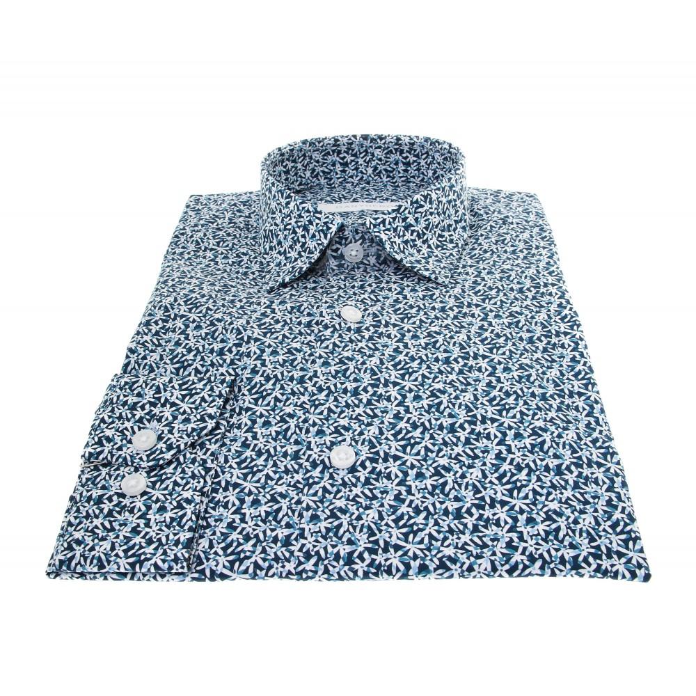Chemise Summer : Blanc - Motif bleu marine - Petit col français