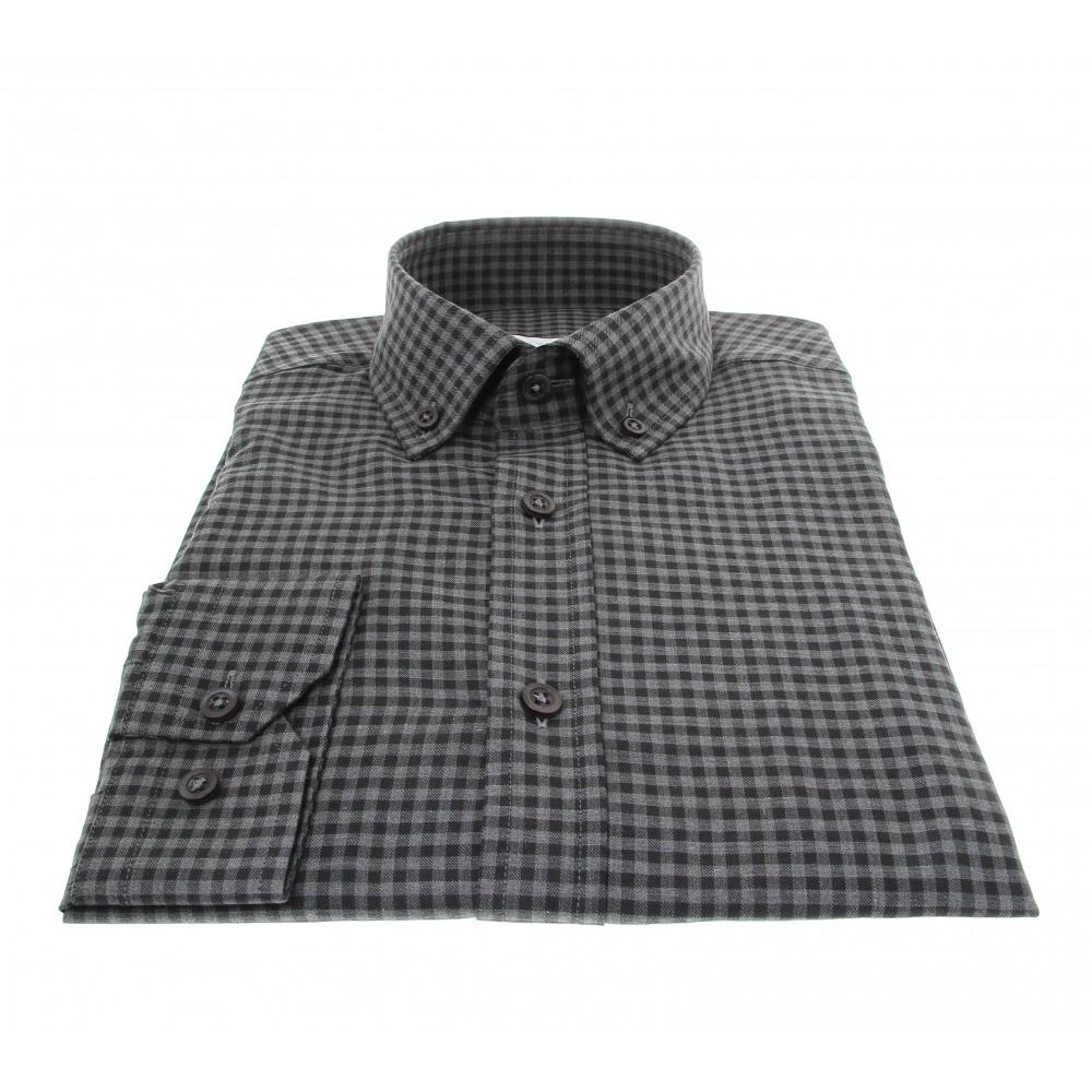 Chemise Winter Vermont : Vichy gris et noir  - Col boutonné - 100% Coton