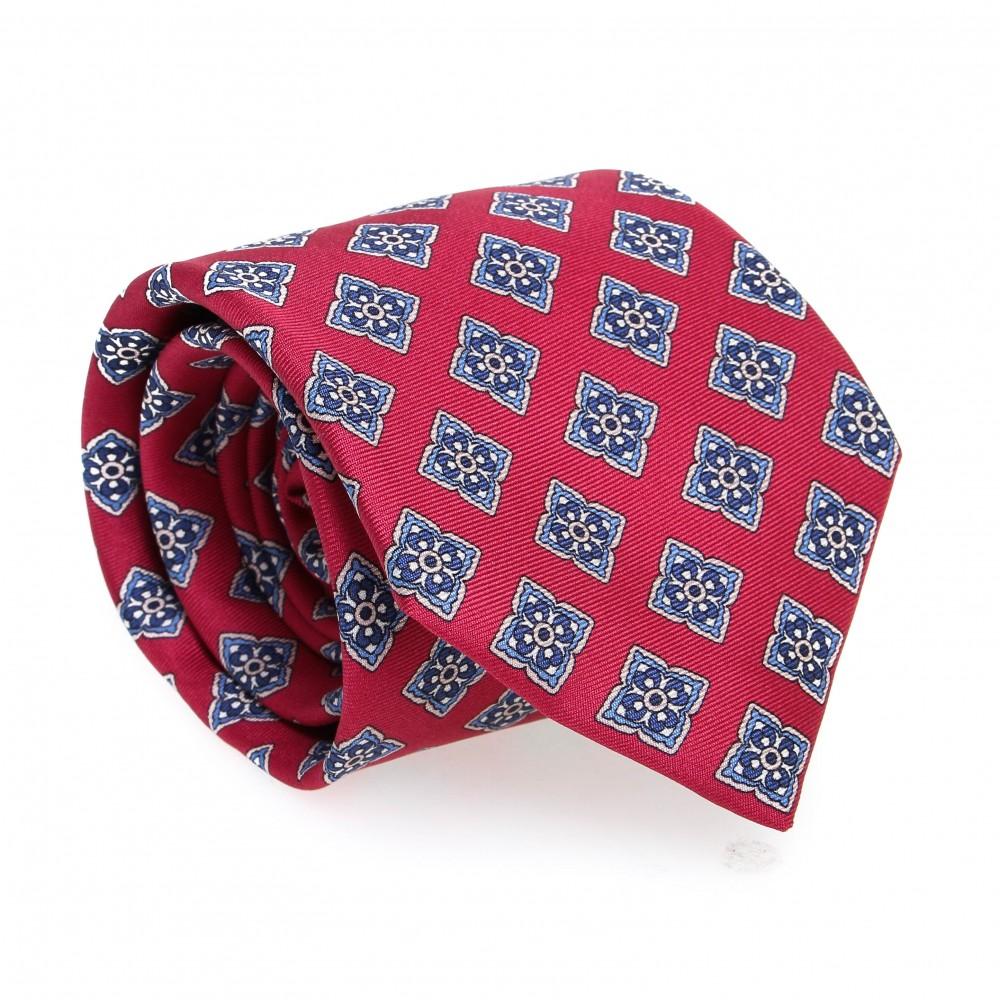 Cravate en soie : Base rouge - Motif fleurette bleu et blanc