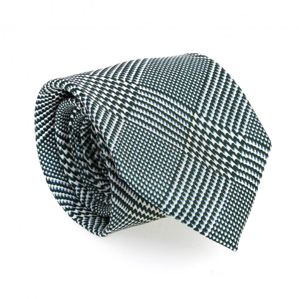 Cravate en soie : Base rouge - Motif fleurette bleu et blanc (cravate)