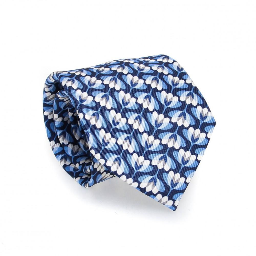 Cravate en soie : Base ciel - Motif marine et blanc