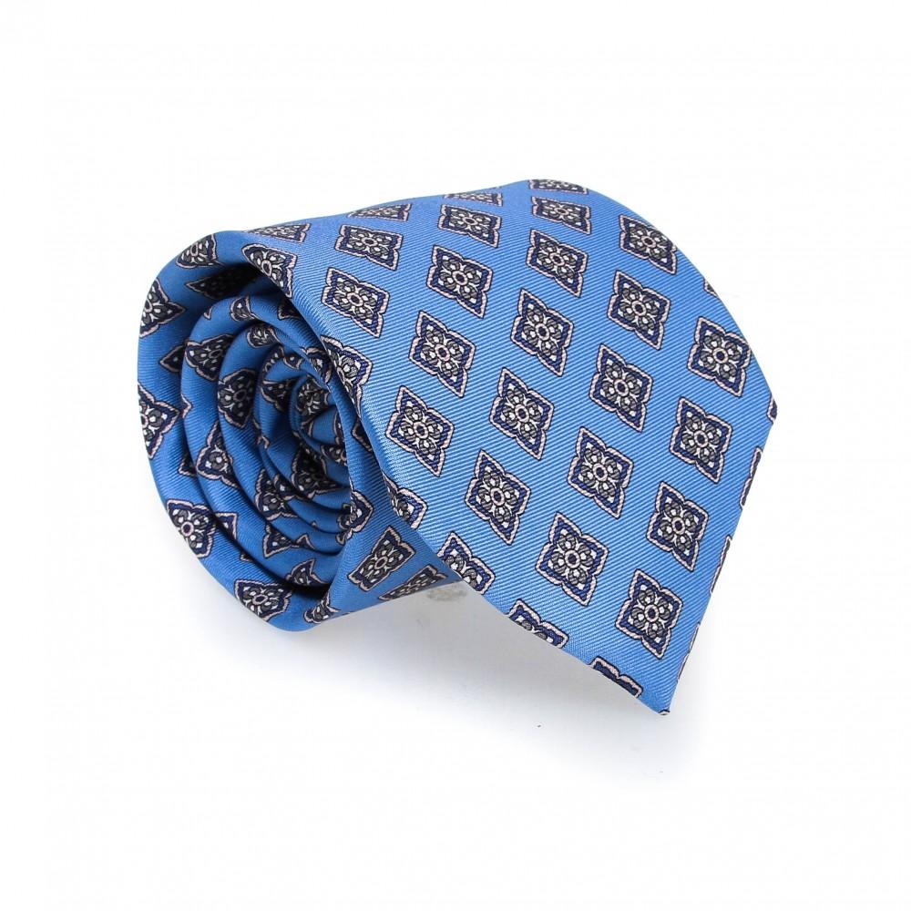 Cravate en soie : Base bleue - Motif fleurette bleu et blanc