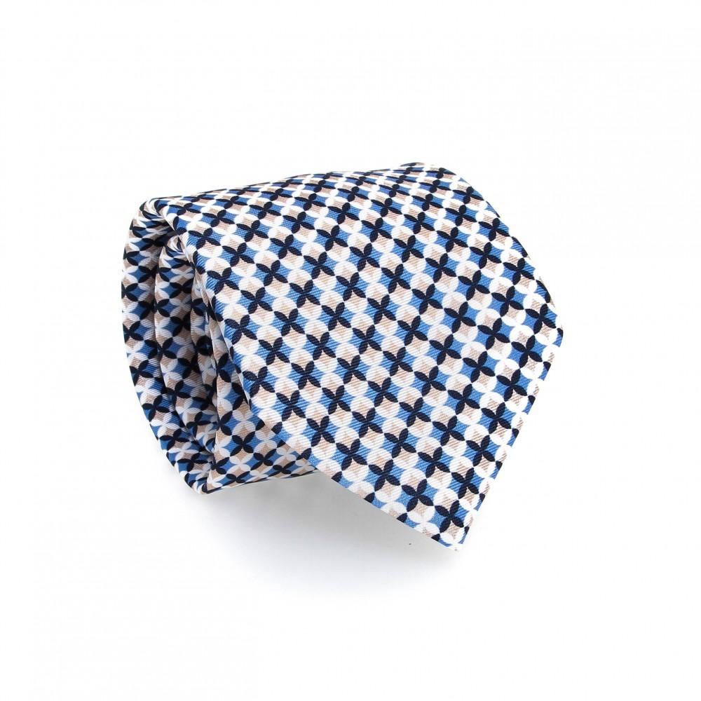 Cravate en soie : Motif croix bleu beige et blanc