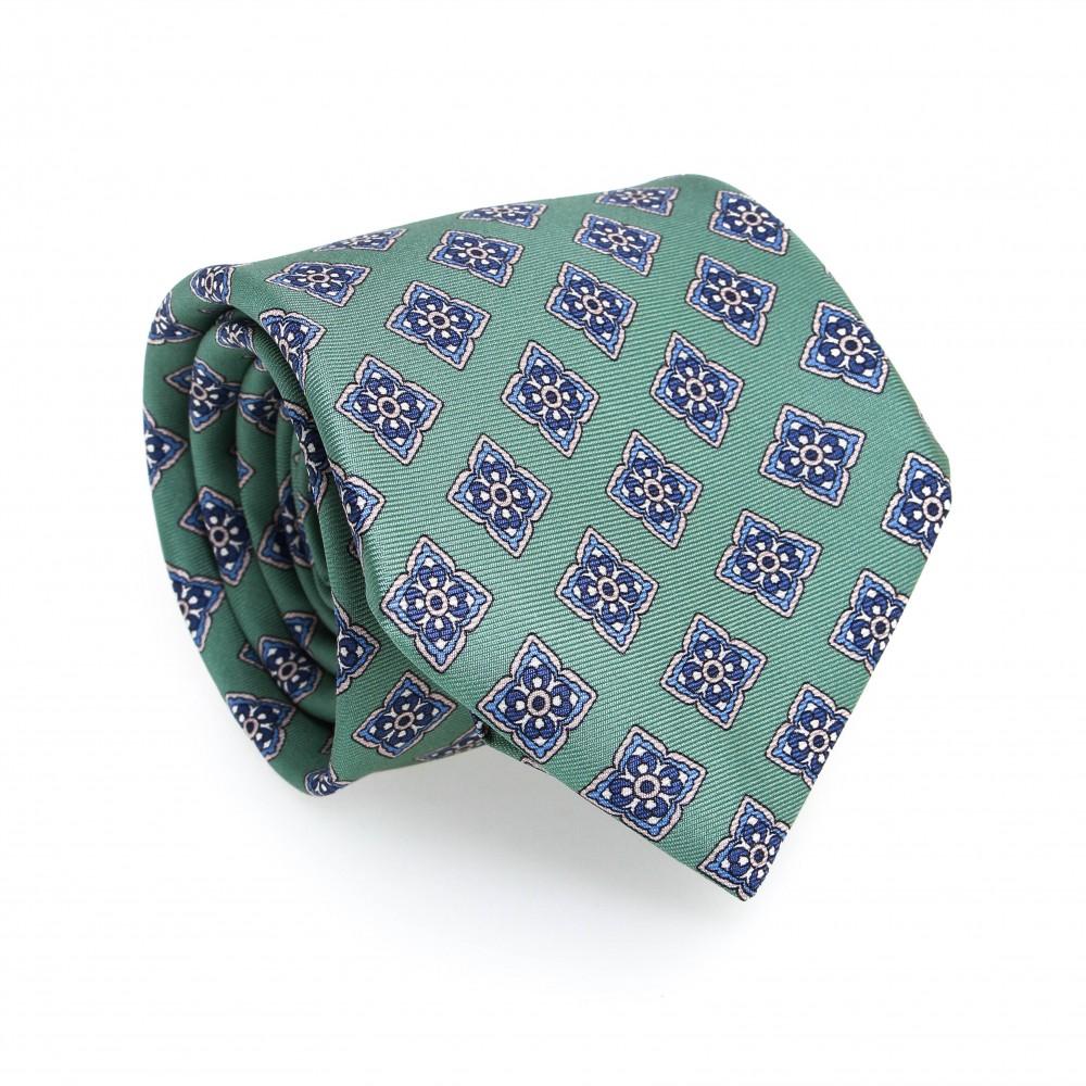 Cravate en soie : Base verte - Motif fleurette bleu et blanc