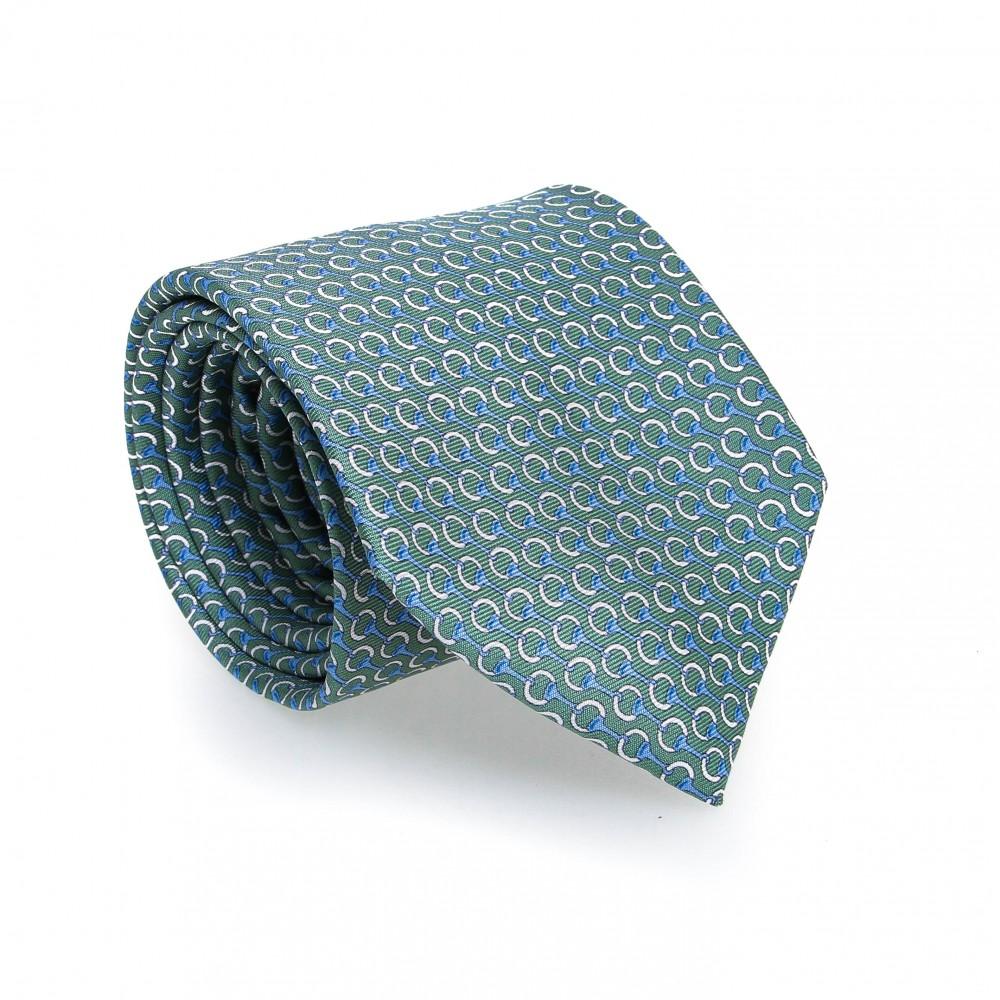 Cravate en soie : Base verte - Motif ciel et blanc
