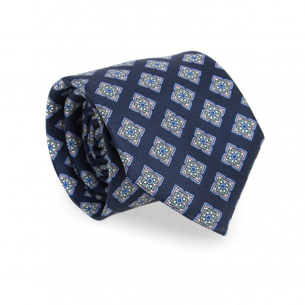 Cravate en soie : Base marine - Motif fleurette bleu et vert