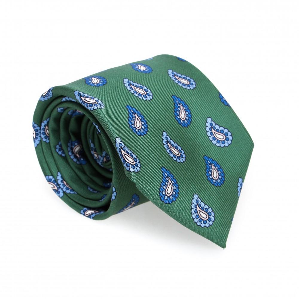 Cravate en soie : Base verte - Motif cachemire bleu et blanc