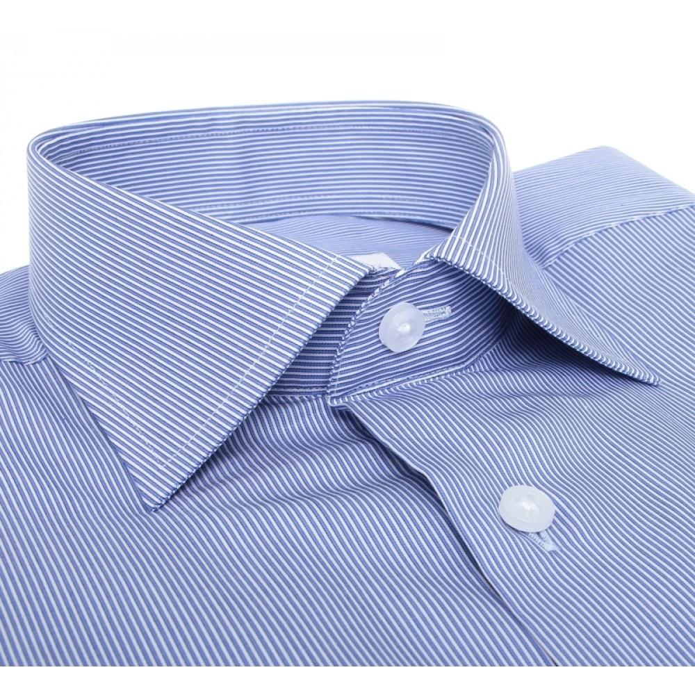 Chemise Stitch : Rayures - Bleu et blanc - Petit Col Français
