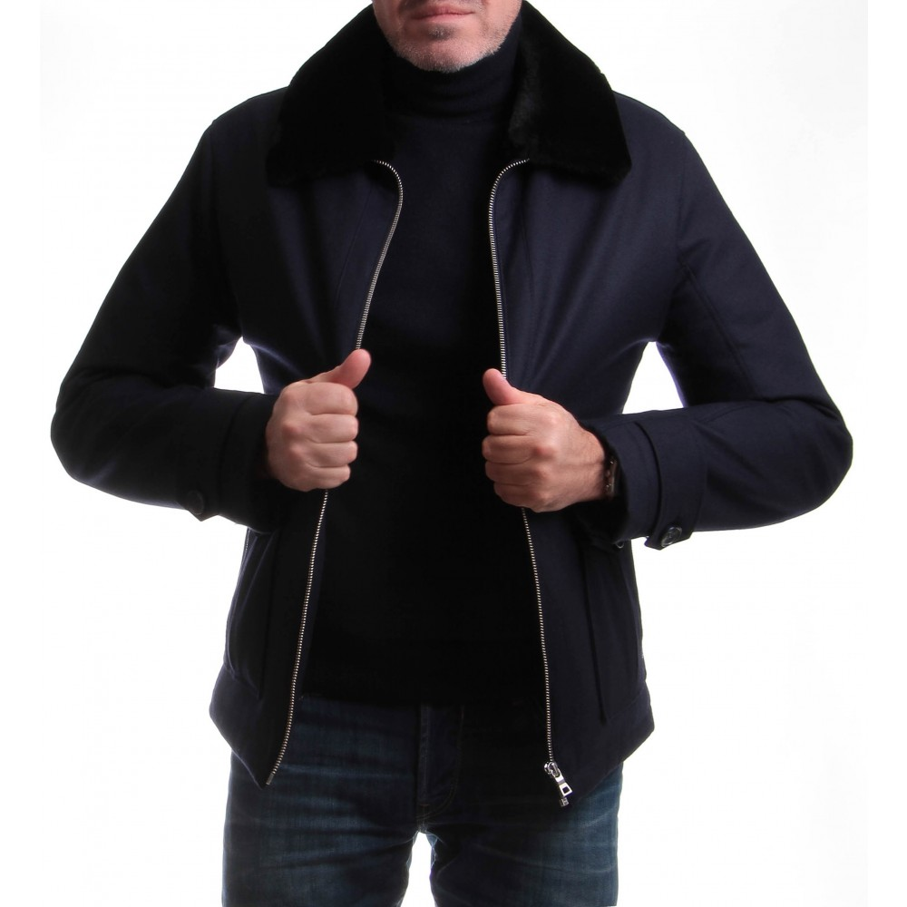 Blouson Warmer : Bleu marine - Col amovible - Vitale Barberis Canonico (Jackets)