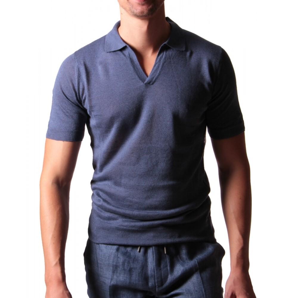 Polo Col Cubain Bleu Made in Italy Coton et Lin