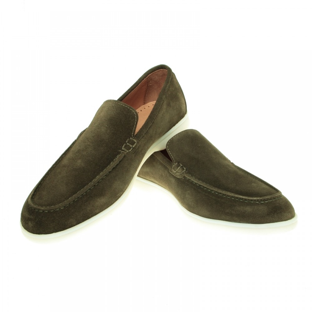 Mocassins : Kaki - Veau Velours - Made in Italy