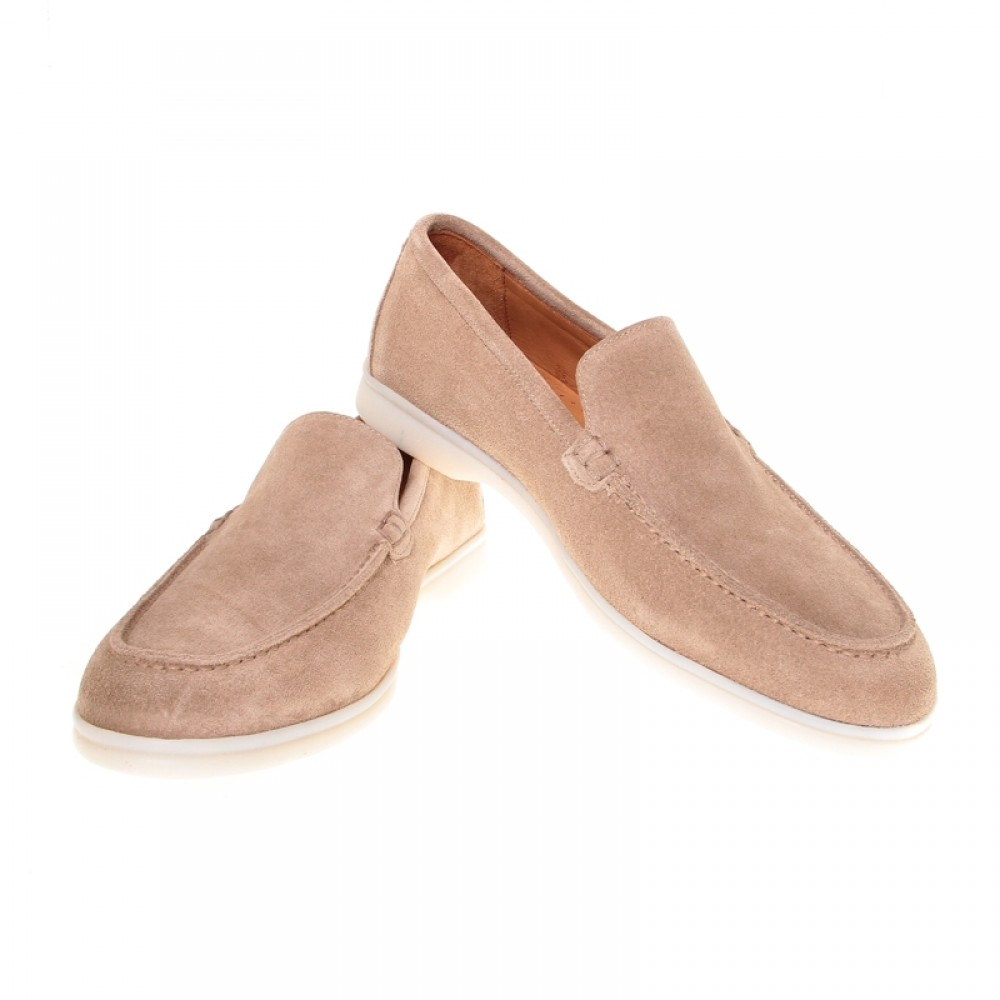 Mocassins : Beige - Veau Velours - Made in Italy