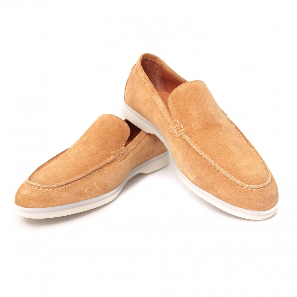 Mocassins : Camel - Veau Velours - Made in Italy