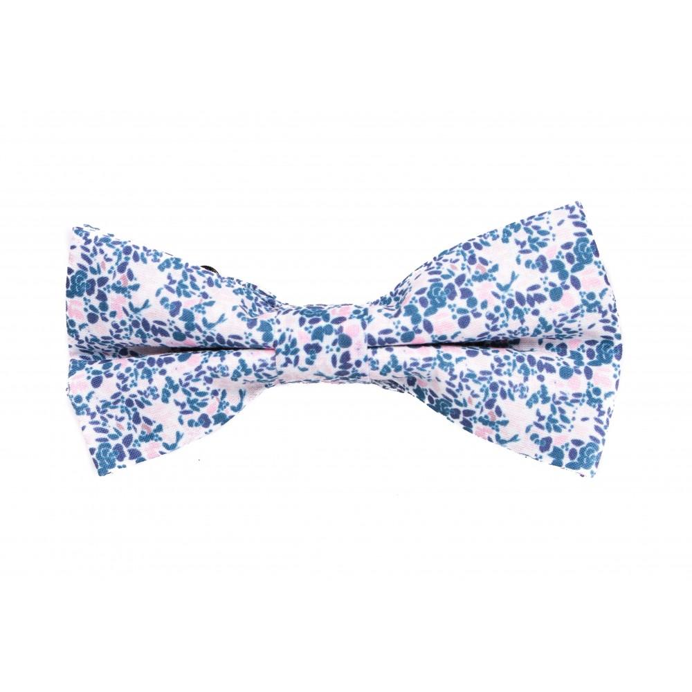 Nœud Papillon : Motif fleurs bleu et rose