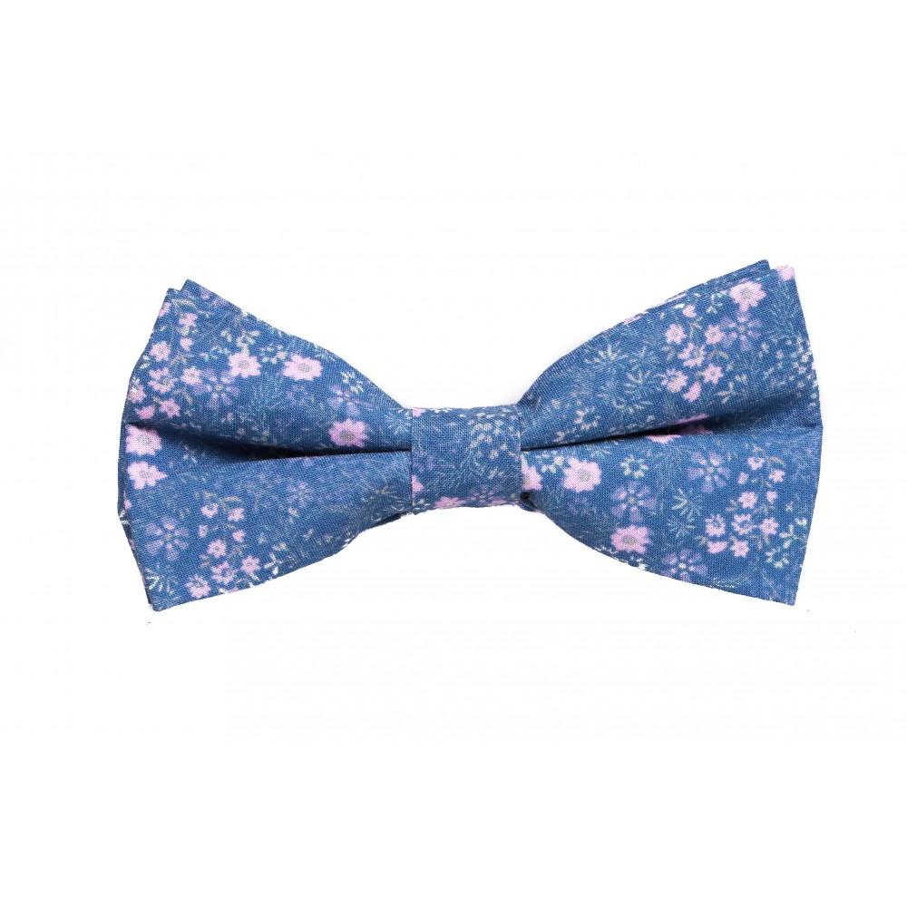 Nœud Papillon : Bleu et fleurs roses