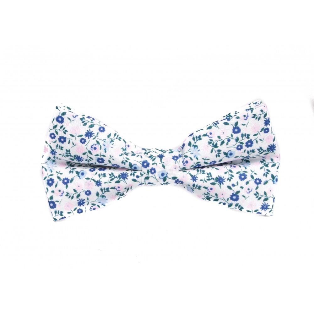 Nœud Papillon : Blanc - Motifs fleurs